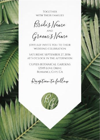 Tropical Palm Leaves Greenery Wedding Invitations